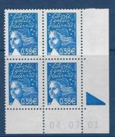 """FR Coins Datés YT 3451 """" Luquet 0.58€ Bleu """" Neuf** Du 04.07.01 - 2000-2009"""