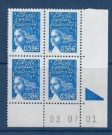 """FR Coins Datés YT 3451 """" Luquet 0.58€ Bleu """" Neuf** Du 03.07.01 - 2000-2009"""