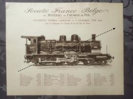 Affiche - Planche Train FRANCO BELGE DE MATERIEL DE CHEMINS DE FER De L'est De Paris - Spoorweg
