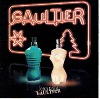 """Carte à Rabat 5 X 5  NOEL 2009 Jean-Paul GAULTIER """"CLASSIQUE """" & """"LE MALE"""" - Perfume Card USA - Cartes Parfumées"""
