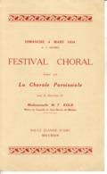 Programme Festival Choral à Meudon Dimanche 4 Mars 1934 - Programs