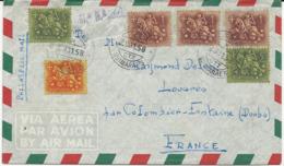 LETTRE PAR AVION 1958 POUR LA FRANCE AVEC 6 TIMBRES - Briefe U. Dokumente
