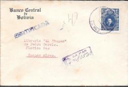 BANCO CENTRAL DE BOLIVIA LA PAZ AÑO 1940 SOBRE CERTIFICADO A LIBRERIA EL ATENEO BUENOS AIRES ARGENTINA VOIR SCANS - Bolivia