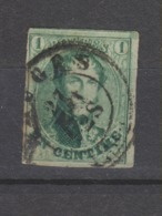 COB 9 Oblitération Centrale Double Cercle BRUGES Signé Brun - 1858-1862 Medallions (9/12)