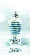 "Carnet  à 3 Volets - Jean-Paul GAULTIER  ""LE BEAU MALE"" - ITALIE - Perfume Card Italy - Duftkarten"