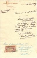 1 Fr Merson N° 121 Utilisé Comme Timbre Fiscale Sur Accompte Pour Des Travaux - 12 Aout 1925 - Marcophilie (Lettres)
