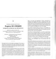 RIJKSWACHTER E.DE CREMER °LEDE 1921 +GENT 1992 (L.VAN DE PUTTE) - Images Religieuses