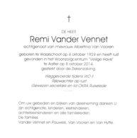 RIJKSWACHTER R.VANDER VENNET °WAARSCHOOT 1924 +AALTER 2014 (A.VAN VOOREN) - Images Religieuses