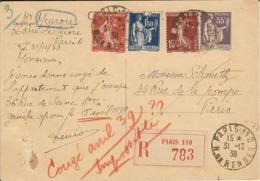 Carte Postale Recommandée De Paris 110 Pour Paris. Affranchie Au Tarif De La Lettre Rec. 2Frs50 - 31/12/1938 - 1921-1960: Periodo Moderno