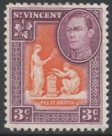 St Vincent. 1949-52 KGVI. New Currency. 3c Orange And Purple MH. SG 166a - St.Vincent (...-1979)