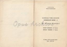 Turkey - 1970 - Concert Program: Ankara State Conservatory - Two Piano Concert - Gulay Ugurata / Mithat Fenmen - Programs