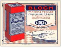 Publicité. N° 44214 . Bloch.tapiocas Fécules Farines Regime Klokao.10.5x 14.illustrateur - Publicité