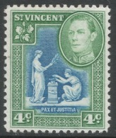 St Vincent. 1949-52 KGVI. New Currency. 4c Blue And Green MH. SG 167a - St.Vincent (...-1979)