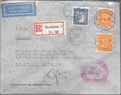LEGACION DE LA REPUBLICA ARGENTINA EN ESTOCOLMO SUECIA AÑO 1938 SOBRE CIRCULADO A BUENOS AIRES VIA LUFTPOST BERLIN CERTI - Briefe U. Dokumente
