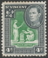 St Vincent. 1949-52 KGVI. New Currency. 4c Green And Black MH. SG 167 - St.Vincent (...-1979)