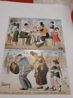 Lot De 2 Cpa Exposition Bruxelles 1935 , La Famille Beulemans Visite , Arrivée Et Retour , Fantaisie - Expositions Universelles