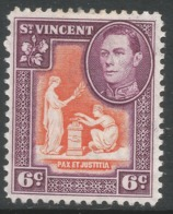 St Vincent. 1949-52 KGVI. New Currency. 6c Orange And Purple MH. SG 169 - St.Vincent (...-1979)