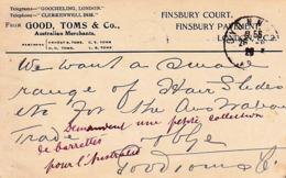 ROYAUME UNI 1928  Londres   Ets GOOD, TOMS & CO Finsbury Court  London à Ets Convert Oyonnax France - Royaume-Uni