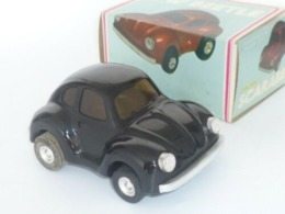 VINTAGE ! China 60s' Friction Tin Toy Car VW Volkswagen BEETLE (Black Colour)  (MF-145) - Toy Memorabilia
