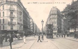 Paris - La Rue Lafayette Avec Attelages, Tram Et Charette - Transporte Público