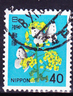 Japan - Rapsblüten Und Schmetterling (MiNr:1442) 1980 - Gest Used Obl - 1926-89 Emperor Hirohito (Showa Era)