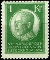 Sweden Sverige 1924 1 Kr King Gustav V 1 Value MH World Postal Congress Stockholm - Schweden