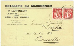 Publicité Bière. Leernes. Brasserie Du Marronnier. R.Laffineur.  Bières-Vins-Liqueurs. - Publicité