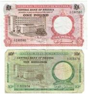 Nigeria.  Billet. 1 Pound + 10 Shillings. Lot De 2 Billets. - Nigeria