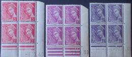 R1591/552 - 1939/1940 - TYPE MERCURE - BLOCS N°406-410-413 CdF Datés TIMBRES NEUFS**(2)/*(2) Tous états - Coins Datés
