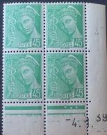 R1591/553 - 1939 - TYPE MERCURE - BLOC N°414 TIMBRES NEUFS**(2)/*(2) CdF Daté - Coins Datés