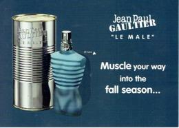"""Grande Carte Glacée Avec Patch Jean-Paul GAULTIER  """"LE MALE"""" - Perfume Card USA - Duftkarten"""