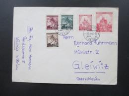 Böhmen Und Mähren MiF 5 Verschiedene Freimarken Abs. Flieger Hermann Resslkaserne Wischau Nach Gleiwitz Oberschlesien - Briefe U. Dokumente