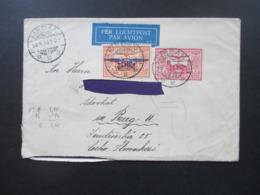 Niederlandisch Indie 1933 Luftpost Von Medan über Rom Nach Prag Rückseitig 3 Vignetten / Reklamemarken Wipa 1933 - Nederlands-Indië