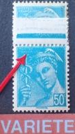 R1591/560 - 1942 - TYPE MERCURE - BLOC N°549 NEUF**BdF - VARIETE ➤➤➤ Légende Effacée Par Surencrage - Variétés Et Curiosités