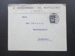 Russland / Polen 1914 Firmenbrief E. Krzeminski Warszawa Frankiert Mit Russischer Marke Stempel Bapwaba - ....-1919 Übergangsregierung