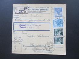 Böhmen Und Mähren 1942 Paketkarte MiF Freimarken Prag 67 Stempel / Vermerk Zustellgebühr Bezahlt - Briefe U. Dokumente