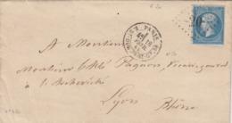 LETTRE. 18 FEVR 65.  N° 22. GROS CHIFFES DE  PARIS 20. R.St-Domque-St-Gn,56   POUR LYON - Postmark Collection (Covers)