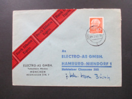 Heuss II Nr. 264 EF Eilbote Express München- Hamburg Stempel Hamburg TA Eilbriefe - BRD