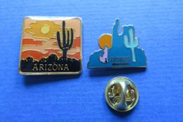 2 Pin's,ville,ARIZONA,plantes,fleurs,cactus,EDSWEST,loup - Villes
