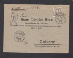 LETTRE RECOMMANDÉE D'ECHTERNACH AVEC NO 81 SEUL SUR LETTRE POUR COBLENZ,1912. - 1906 Wilhelm IV.