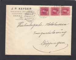 J. P. KAYSER,HORLOGERIE - BIJOUTERIE - LUNETTERIE - OPTIQUE,ESCH/ALZETTE.LETTRE AVEC BANDE DE 3 DU NO 95 POUR GÖPPINGEN. - 1914-24 Marie-Adélaïde