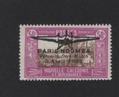 Faux Nouvelle-Calédonie N° 2 Poste Aérienne 50 C Surchargé Gomme Charnière - Poste Aérienne