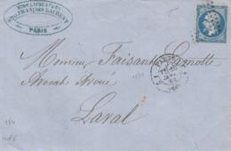 LETTRE. 16 JANV 63 .   N° 22. LOSANGE DE  PARIS. 1529 C1, CS1.   POUR LAVAL - Postmark Collection (Covers)