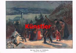 1406 Schultheiß Christmette Weihnacht Winterbild Kunstblatt 1911 !! - Estampes