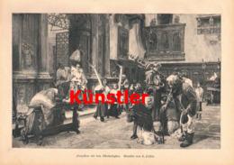 1409 L. Passini Prozession Allerheiligen Kirche Kunstblatt 1890 !! - Estampes