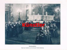 1411 Ferdinand Brütt Abendmahlsfeier Kirche Kunstblatt 1905 !! - Estampes