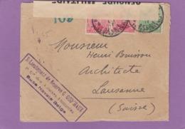 1E CIE. DES ANNEXES FLOTTANTES,BASE NAVALE BELGE.LETTRE POUR LAUSANNE OUVERTE PAR LA CENSURE MILITAIRE. - Postmark Collection