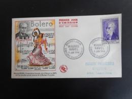 FDC - Maurice Ravel, Compositeur - Oblitération 9 Juin 1956 Ciboure - FDC