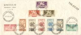 Liban 1948 - FDC UNESCO - Cachet Unesco - Beyrouth - Lettre Par Avion - Série Complète - Libano
