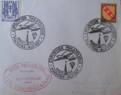 """R1591/587 - N°673 + N°757 Sur Fragment - Cachets """" EXPOSITION PHILATELIQUE - MAISONS ALFORT - 19-20 OCTOBRE 1946 - France"""